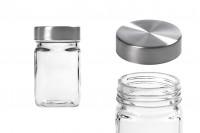 Pot en verre de 270 ml, carré - 65x110 mm avec couvercle en argent