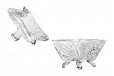 Barbe en verre avec couvercle, motifs en relief et jambes 95x76 mm
