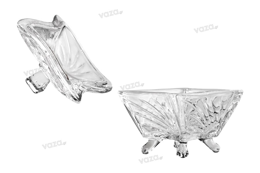 Φοντανιέρα γυάλινη με καπάκι, ανάγλυφα σχέδια και πόδια 95x76 mm