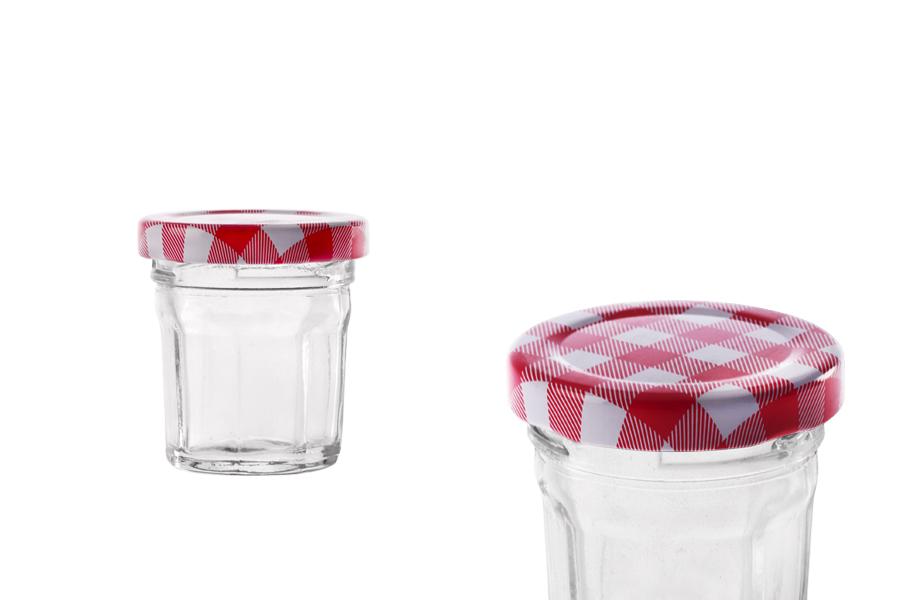 Βαζάκι 30 ml γυάλινο, οκτάγωνο με μεταλλικό καπάκι