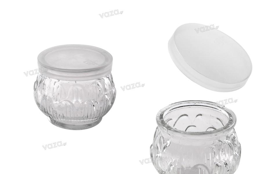 Βαζάκι 100 ml στρογγυλό με ανάγλυφα σχέδια και πλαστικό καπάκι