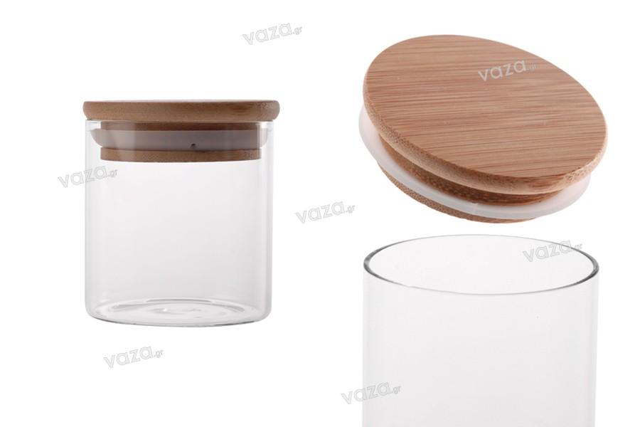 Βαζάκι γυάλινο 160 ml, στρογγυλό με ξύλινο καπάκι και λάστιχο
