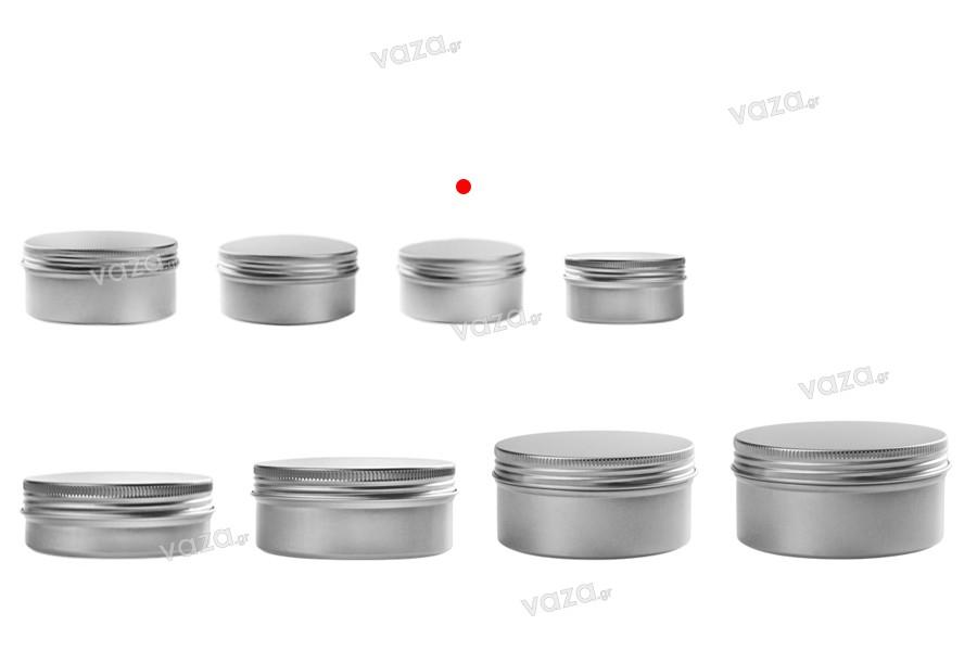 Pot en aluminium de 10ml avec couvercle et joint intérieur -différentes couleurs- paquet de 12 pièces