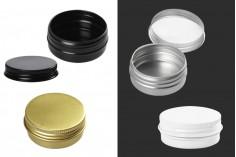 Βαζάκι αλουμινίου 10 ml με εσωτερικό παρέμβυσμα στο καπάκι σε διάφορα χρώματα - 12 τμχ
