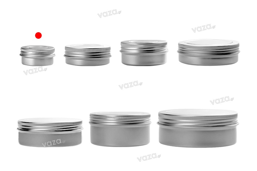 Βάζο αλουμινίου 15 ml με παράθυρο στο καπάκι - 15 τμχ