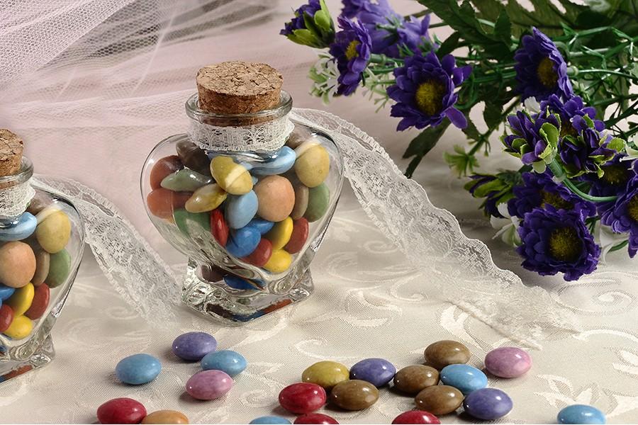 Vase en forme de coeur en verre de 75 ml pour baptême de mariage et liège