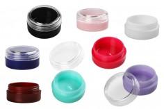 Βαζάκι ακρυλικό 3 ml με διάφανο καπάκι σε διάφορα χρώματα - 12 τμχ