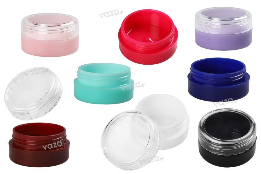 Βαζάκι ακρυλικό 5 ml με διάφανο καπάκι σε διάφορα χρώματα - 12 τμχ