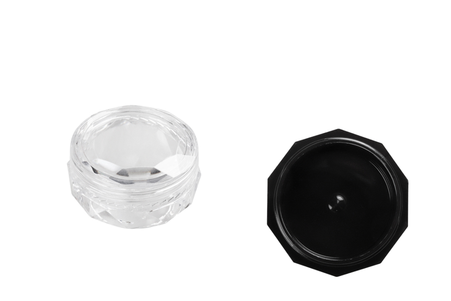 Βαζάκι 5 ml ακρυλικό, πολύγωνο με διάφανο καπάκι - 12 τμχ