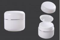 Βάζο 30 ml πλαστικό δίπατο με ασημί ρίγα, παρέμβυσμα και καπάκι - 12 τμχ