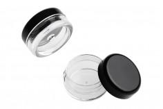 Βαζάκι ακρυλικό 3 ml διάφανο με μαύρο καπάκι - 12 τμχ