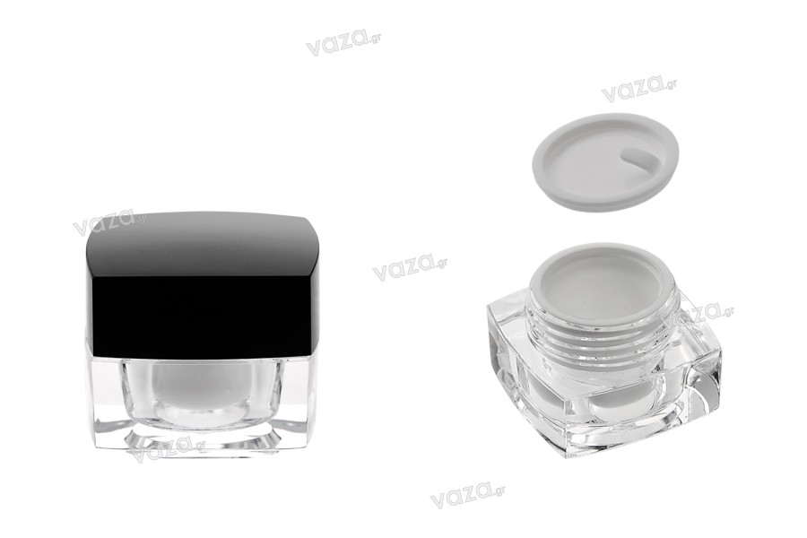 Βάζο πολυτελείας τετράγωνο για κρέμα 5 ml, ακρυλικό με μαύρο καπάκι, με εσωτερικό παρέμβυσμα στο καπάκι και πλαστικό στο βάζο