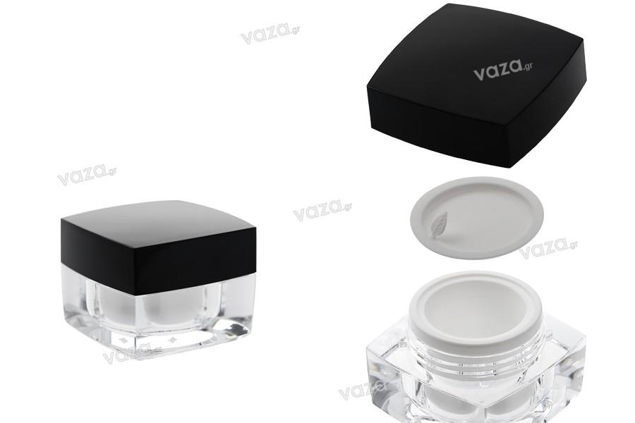 Βάζο πολυτελείας τετράγωνο για κρέμα 10 ml, ακρυλικό με μαύρο καπάκι, με εσωτερικό παρέμβυσμα στο καπάκι και πλαστικό στο βάζο