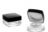 Pot de crème carré, luxueux de 15 ml, acrylique avec couvercle noir jointé et obturateur plastique