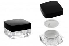 Βάζο πολυτελείας τετράγωνο για κρέμα 15 ml, ακρυλικό με μαύρο καπάκι, με εσωτερικό παρέμβυσμα στο καπάκι και πλαστικό στο βάζο
