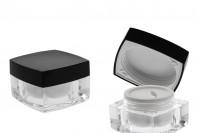 Βάζο πολυτελείας τετράγωνο για κρέμα 30 ml, ακρυλικό με μαύρο καπάκι, με εσωτερικό παρέμβυσμα στο καπάκι και πλαστικό στο βάζο