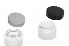 Βαζάκι για κρέμα γυάλινο 50 ml διάφανο αμμοβολής με εσωτερικό παρέμβυσμα στο καπάκι και πλαστικό στο βάζο