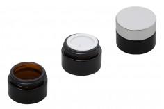 Βάζο 15 ml καραμελέ, γυάλινο με πλαστικό παρέμβυσμα στο βάζο και εσωτερικό στο καπάκι