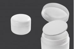 Πλαστικό βάζο 100 ml λευκό, δίπατο με πλαστικό παρέμβυσμα