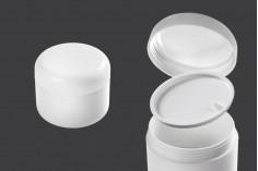 Pot en plastique de 200 ml blanc avec double paroi et joint en plastique