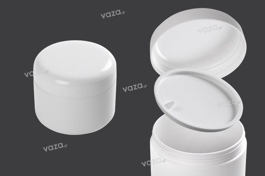 Pot en plastique de 300 ml blanc, avec double paroi et joint en plastique