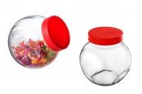 Βάζο γυάλινο 1400 ml που πλαγιάζει για μπαχαρικά ή καραμέλες με κόκκινο καπάκι