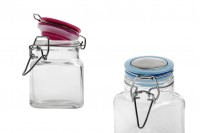 100 ml glass jar, square 76x53 mm with airtight closure (wire and rubber on the lid)