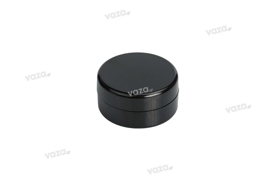 Πλαστικό βάζο για κρέμα 5 ml χρώμα μαύρο σε συσκευασία 12 τμχ