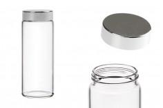 Pot en verre avec couvercle en argent et joint intérieur