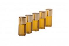 Μπουκαλάκι καραμελέ 3 ml διάστασης 16x37,5 με χρυσό καπάκι αλουμινίου σε συσκευασία 12 τεμαχίων