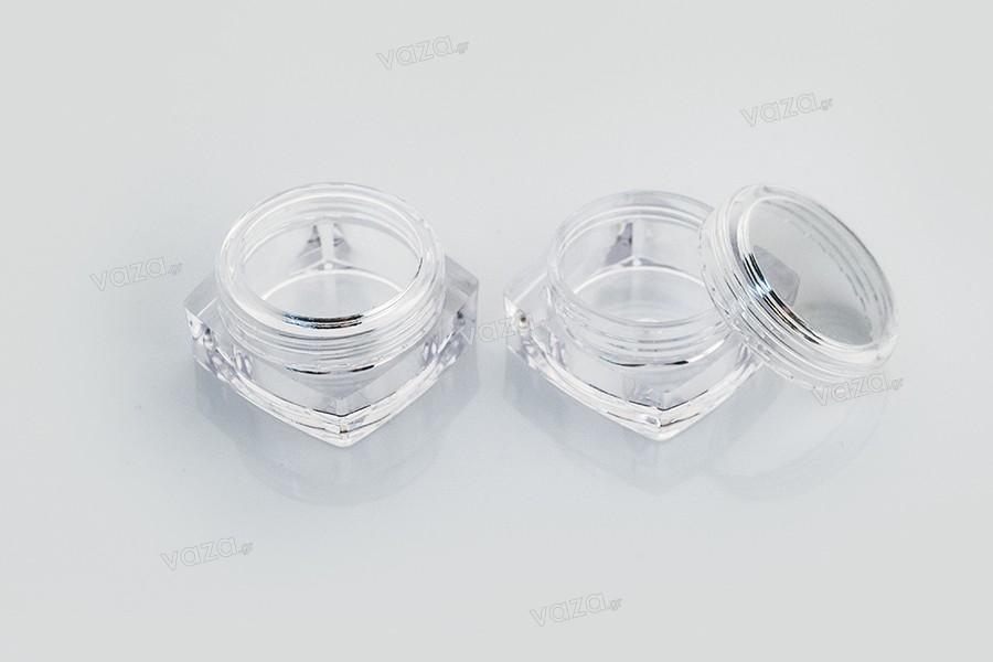 Βαζάκι ακρυλικό  τετράγωνο 5 ml διάφανο με  καπάκι για κρέμες -συσκευασία 12 τεμαχίων