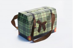 """Τσάντα δώρου πράσινη """"Ορθογώνιο"""" με φιόγκο και χερούλι από κορδέλα σατέν 165x90x115 - 20 τμχ"""