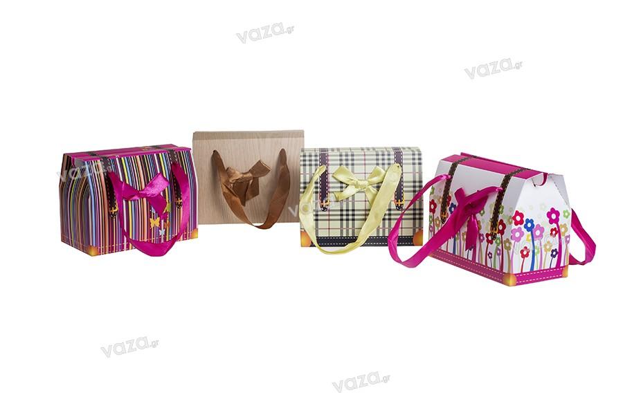 """Τσάντα δώρου λουλούδια """"Ορθογώνιο"""" με φιόγκο και χερούλι από κορδέλα σατέν 130x70x100 - 20 τμχ"""