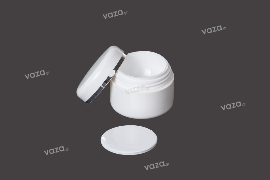 Δίπατο λευκό ακρυλικό βαζάκι 5ml με παρέμβυσμα - 12 τμχ