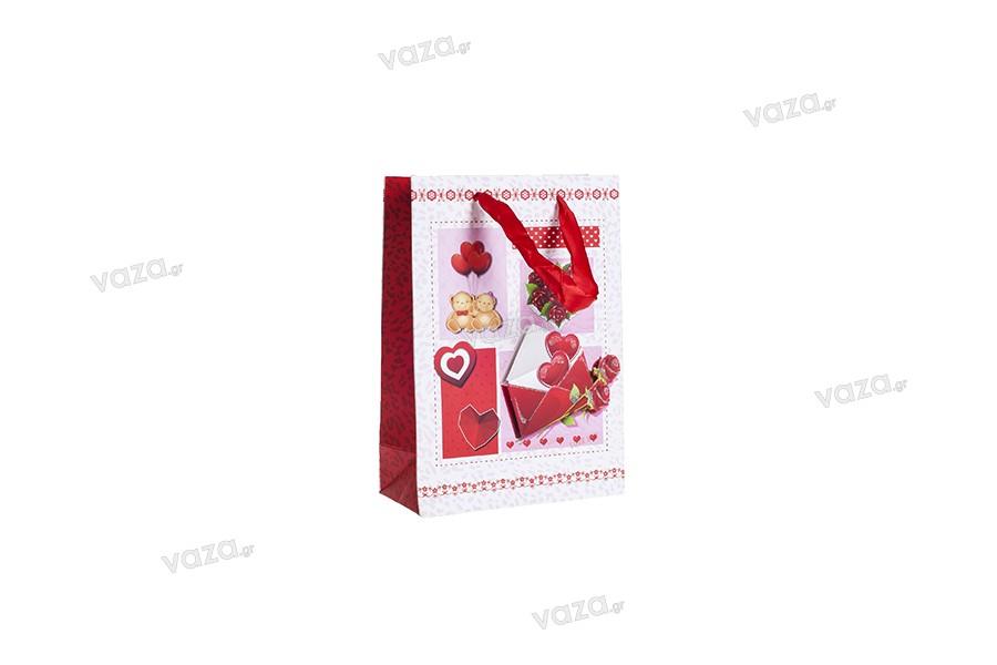 """Χάρτινη 3-D τσάντα δώρο, σχέδιο """"καρδιές"""", μέγεθος """"S"""", 18x8.5x25cm"""