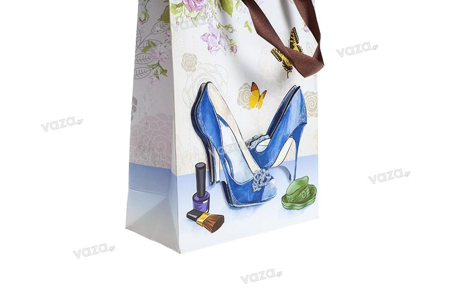 """Χάρτινη 3-D τσάντα δώρο, σχέδιο """"μπλε γόβες"""", μέγεθος """"S"""", 18x8.5x25cm"""