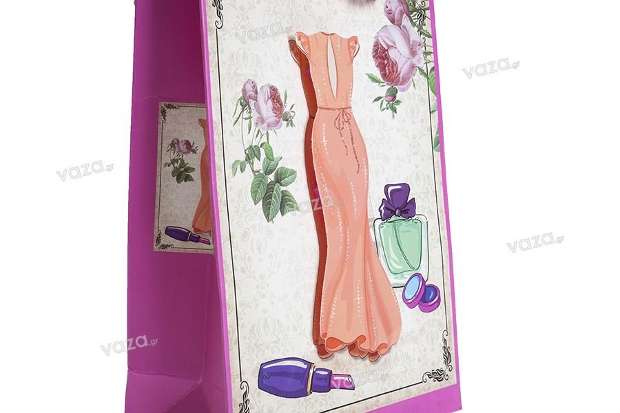 """Χάρτινη 3-D τσάντα δώρο, σχέδιο """"πορτοκαλί φόρεμα"""", μέγεθος """"S"""", 18x8.5x25cm"""