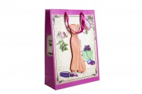 Sac cadeau en papier 3D, dessin robe orange, dimension « L », 31x12x42 cm