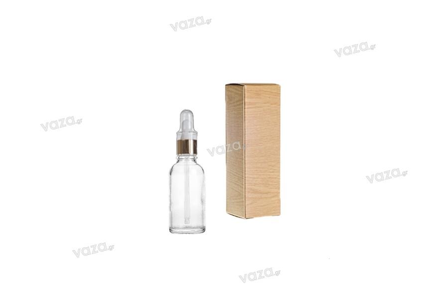 """Χάρτινο κουτάκι με τύπωμα σχέδιο """"ξύλου"""" 30x30x100 - 50 τμχ"""